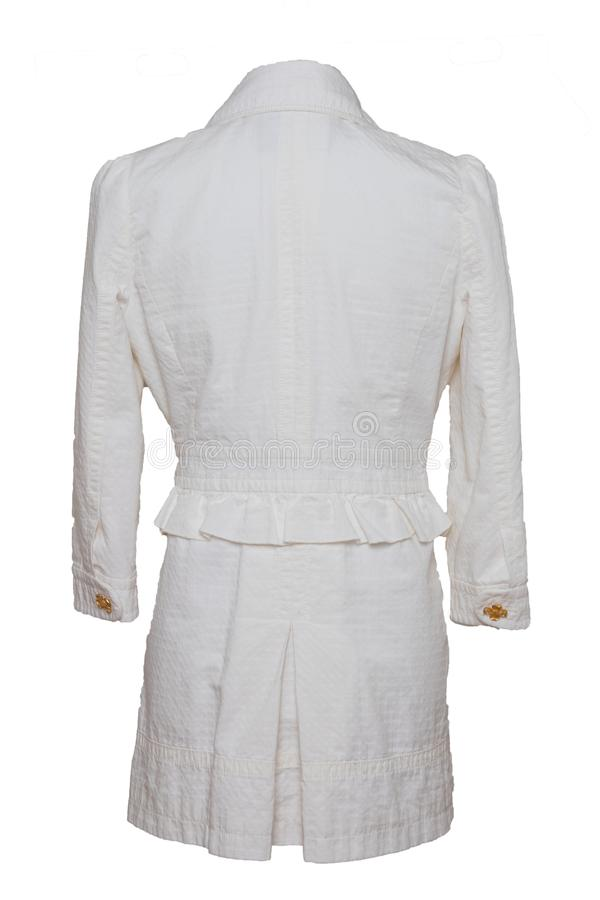 Women jackets. Woman blue white jacket isolated on a white background. Women fashion. stock photo