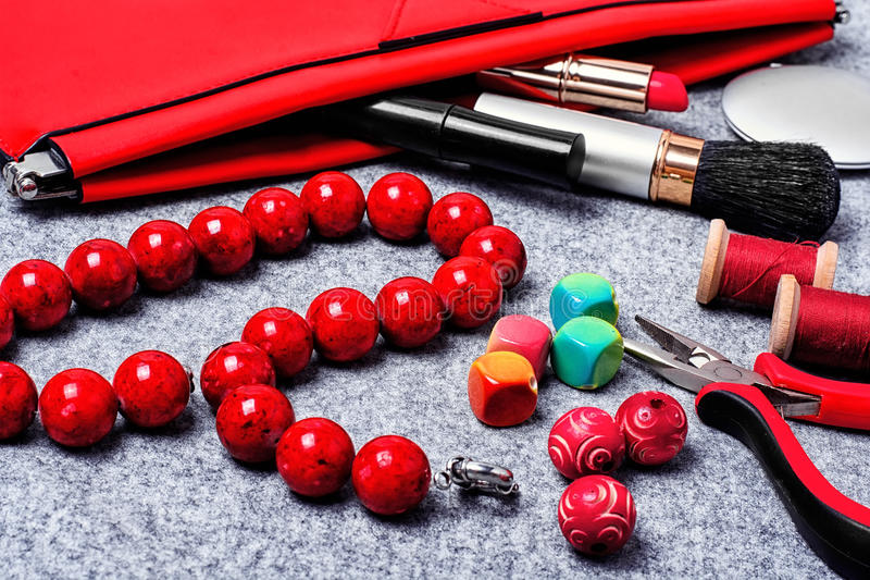 Women jewelry from beads stock photography