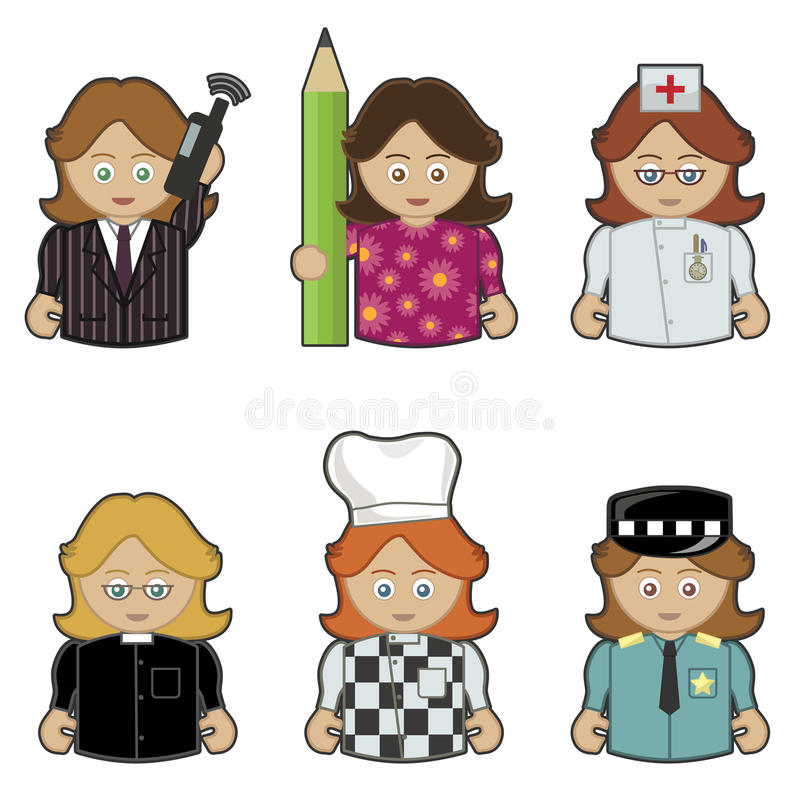 Download Women in jobs stock vector. Image of pencil, concept - 13574477