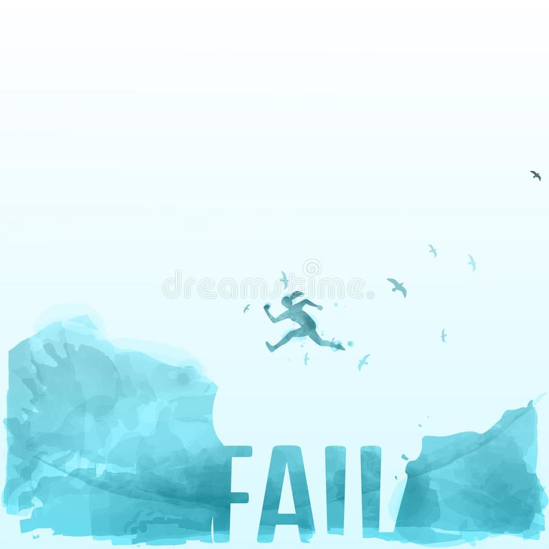 Women jumping across the gap from one rock to cling to the other - success concept. Women jumping across the gap from one rock to cling to the other - success royalty free illustration