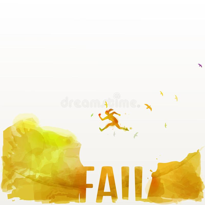 Women jumping across the gap from one rock to cling to the other - success concept.  vector illustration
