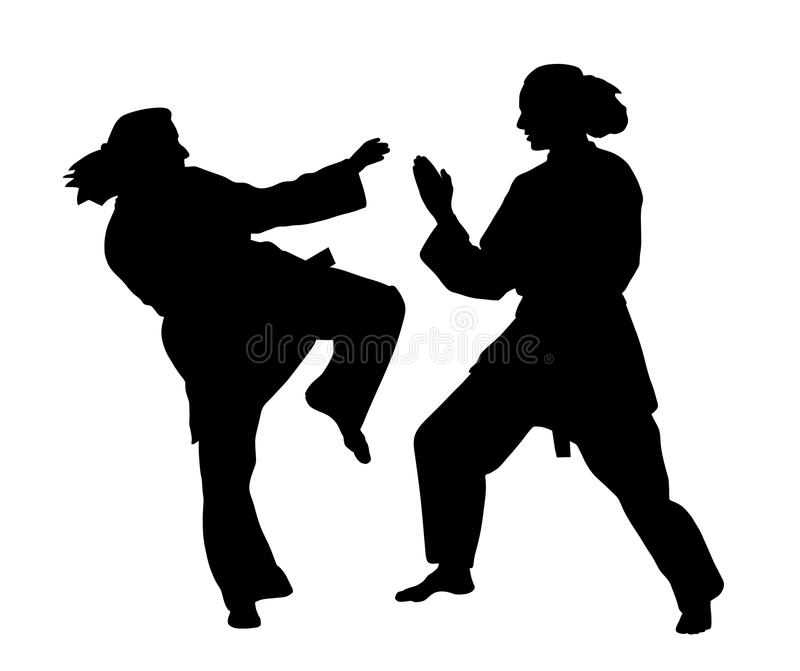 Women karate fight. Silhouettes of two women karate fighters. white background. EPS file available royalty free illustration