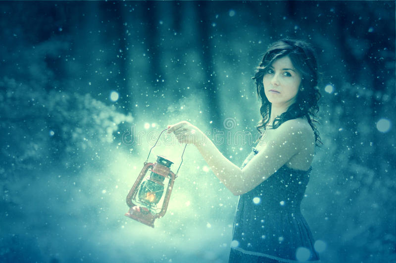 Download Women with lantern stock photo. Image of nature, forest - 24589938