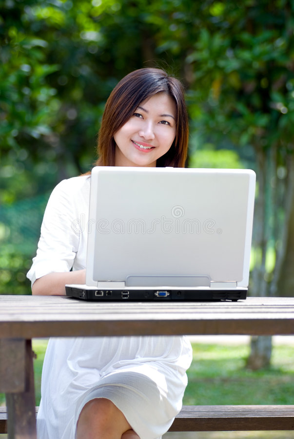 Women with laptop stock image