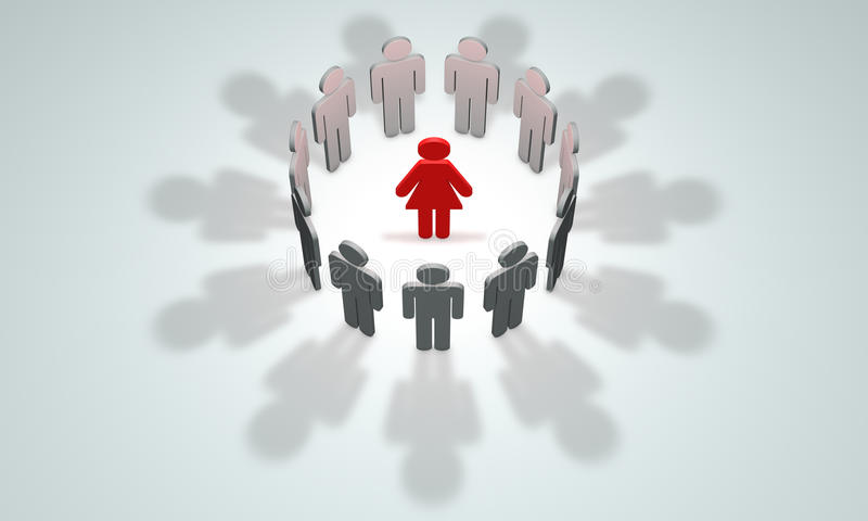 Women-leader (symbolic figures of people). 3D illustration rendering. Standing Out from the Crowd. Available in high-resolution and several sizes to fit the royalty free illustration