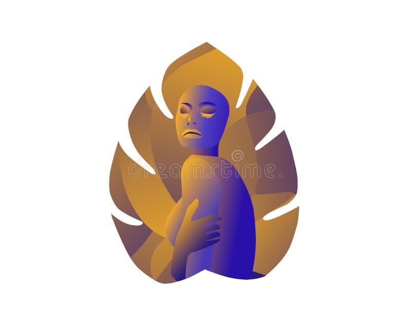 Women in leaf. Vector editable file as eps stock illustration