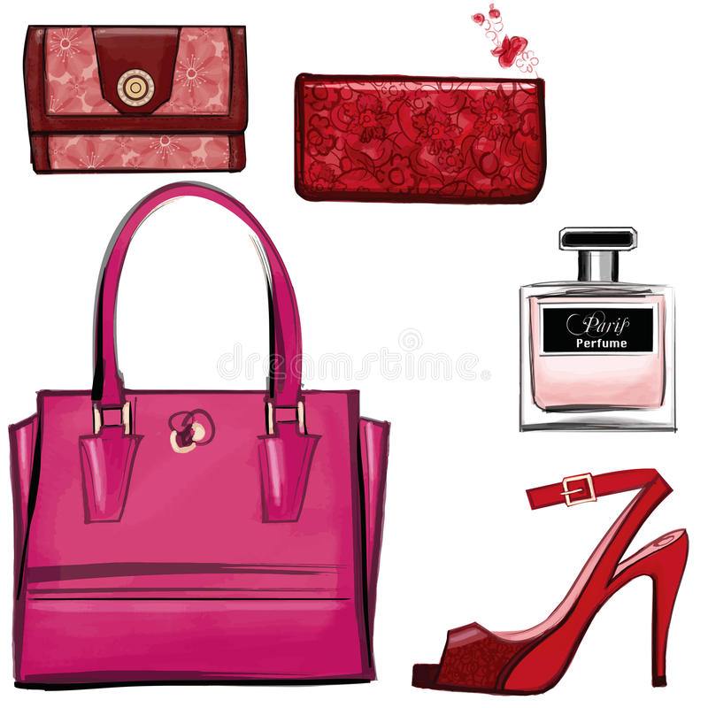 Women leather color handbags, purses and shoes vector illustration