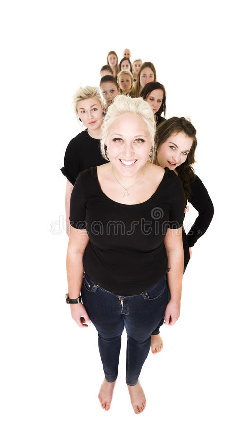 Women in a line royalty free stock images