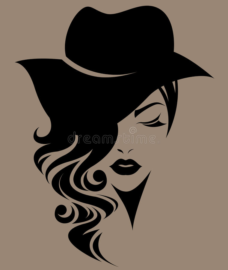 Women long hair with a hat, logo women face on brown background. Illustration of women long hair with a hat, retro logo women face on brown background stock illustration