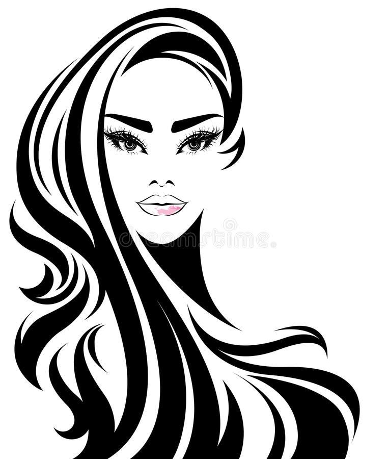 Women long hair style icon, logo women on white background stock illustration