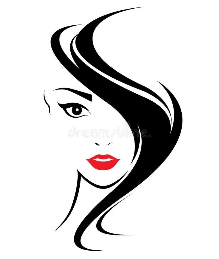 Women long hair style icon, logo women face. On white background vector illustration