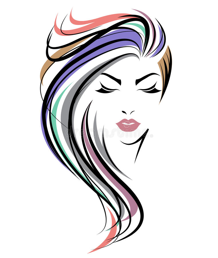 Women long hair style icon, logo women face on white background stock illustration
