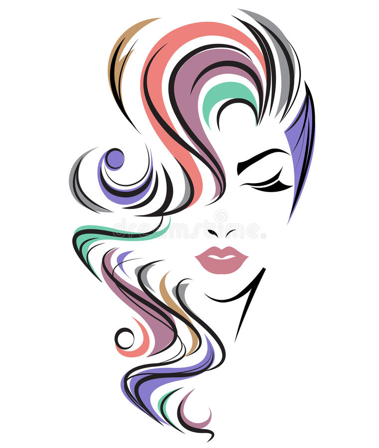Women long hair style icon, logo women face on white background vector illustration