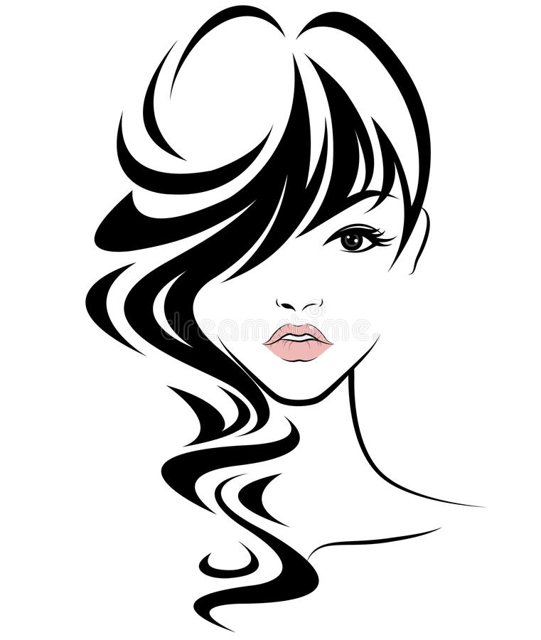 Women Long Hair Style Icon, Logo Women Face On White ...