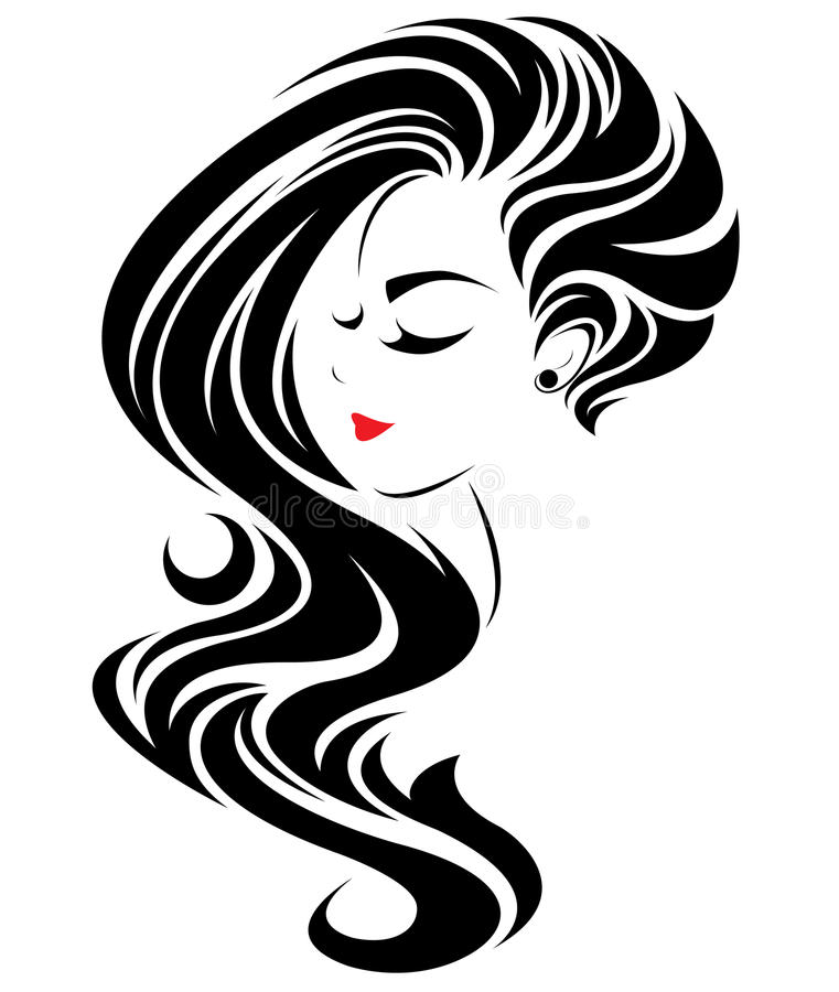 Women long hair style icon, logo women face on white background stock illustration