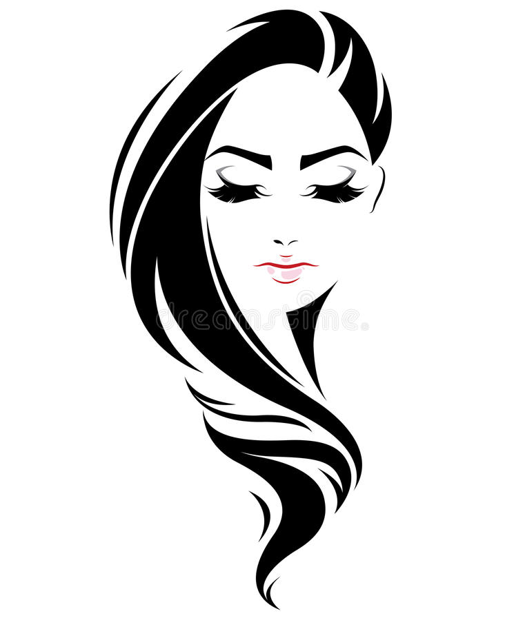 Women Long Hair Style Icon Logo Women Face On White