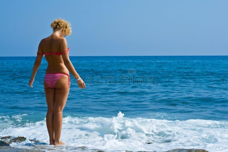 Women look at sea royalty free stock photo