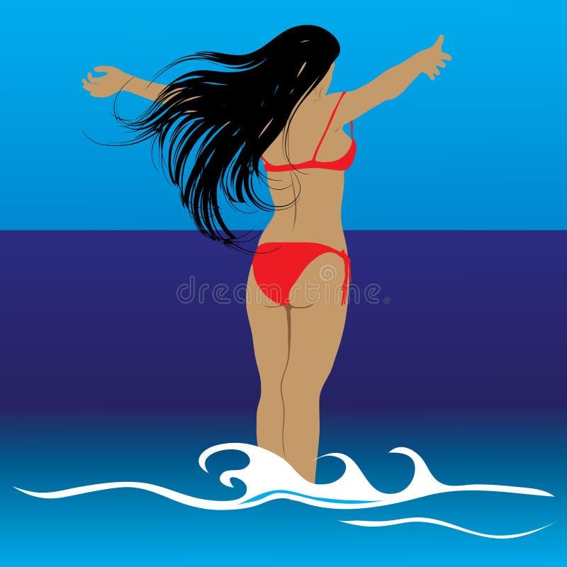 Women look at sea. Vector. stock photo