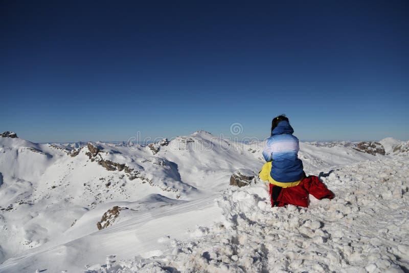Women looks at Alps stock photo