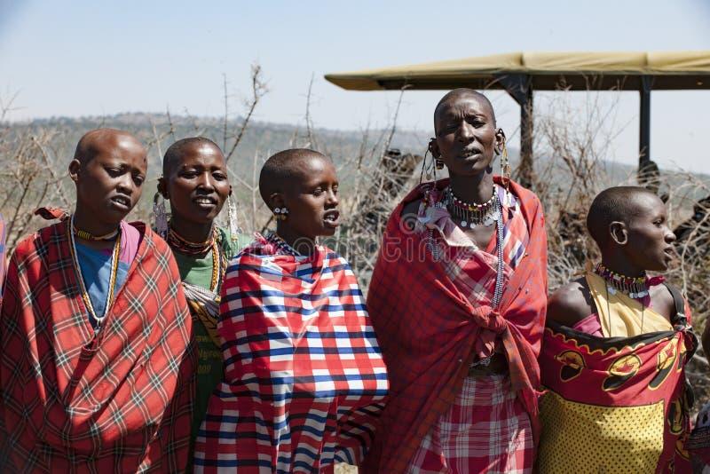 Maasai Women, singing, Tanzania stock images
