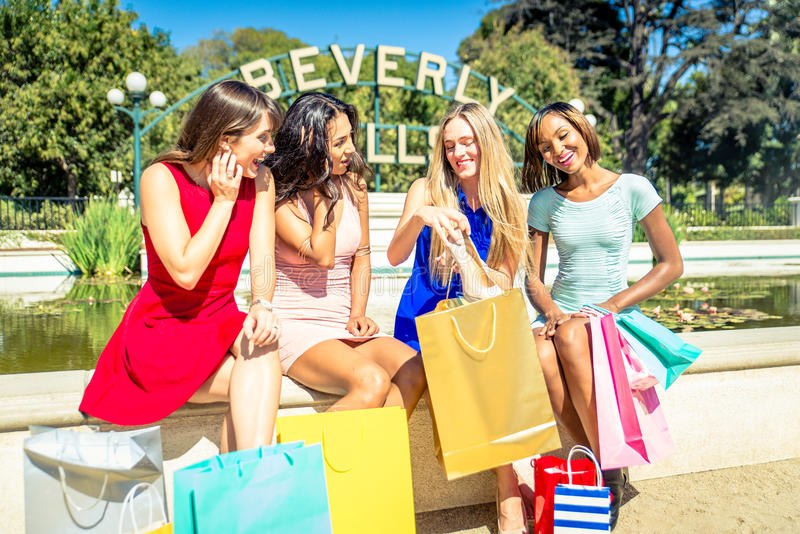 Women making shopping in Beverly hills stock photography