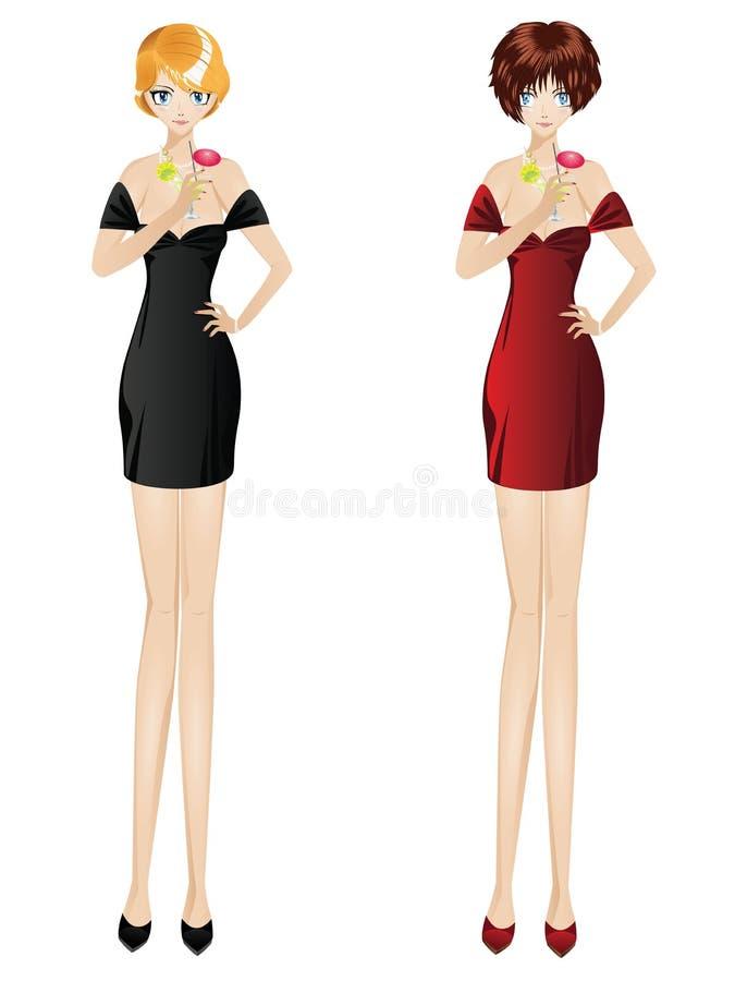 Women with Martini stock illustration