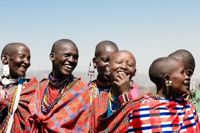 Masai Women, laughing Maasai Women, Tanzania, Africa royalty free stock photography