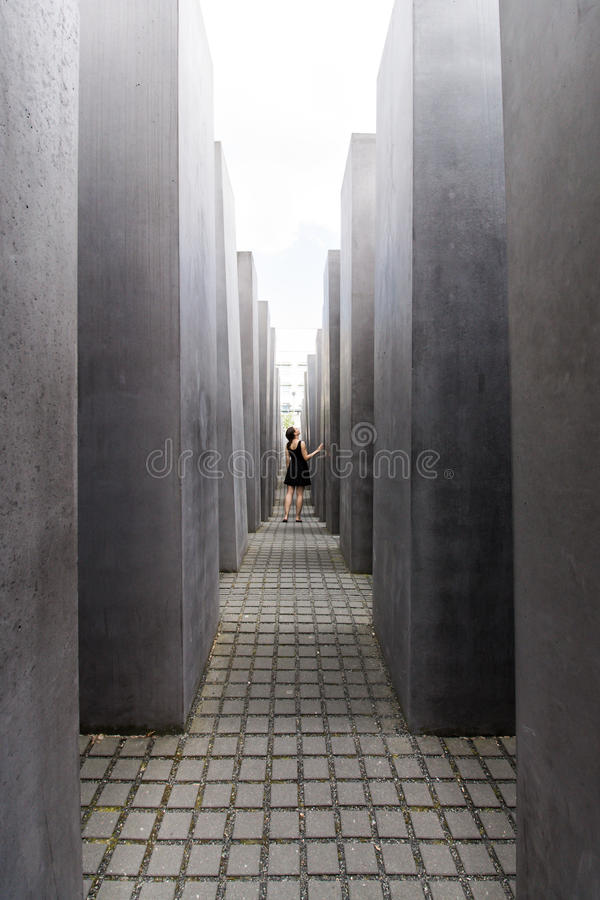 Women at Memorial to the Murdered Jews of Europe stock image