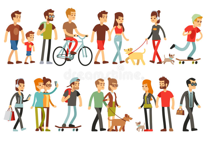 Women and men in various lifestyles. Cartoon characters vector set vector illustration
