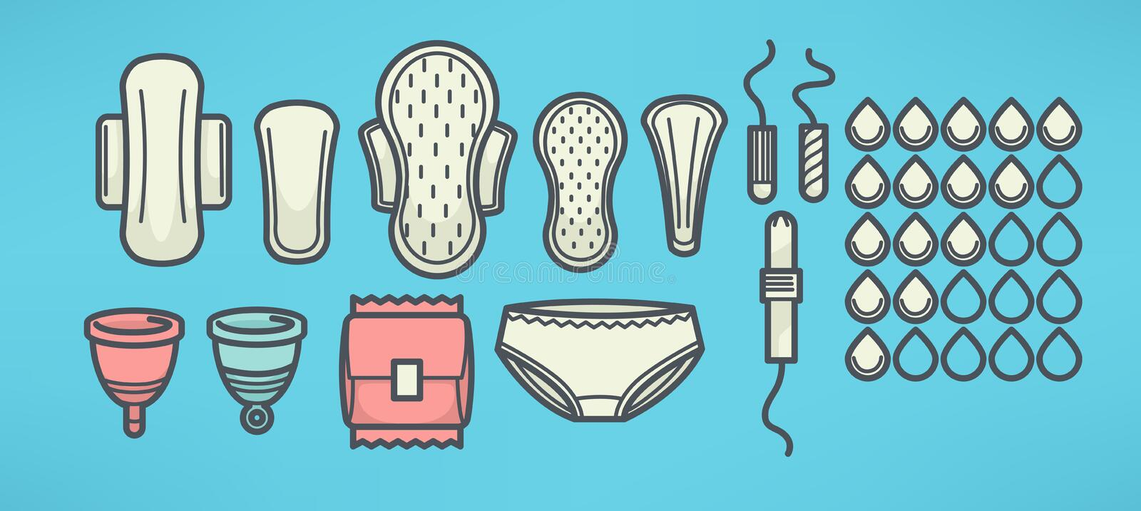 Women menstrual hygiene vector objects set, line art style. Women menstrual hygiene vector objects set stock illustration