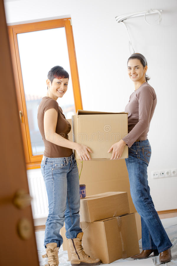Download Women moving home stock image. Image of happy, home, effort - 10096155