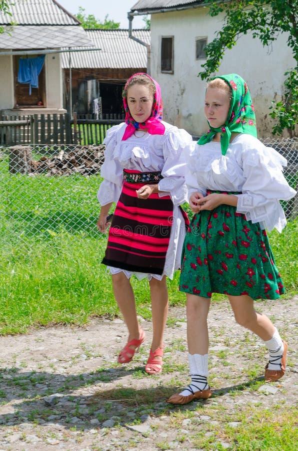 Women in national port, Romania stock photos