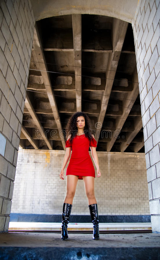 Download Women Near The Brick Masonry Wall Stock Photo - Image: 14210186