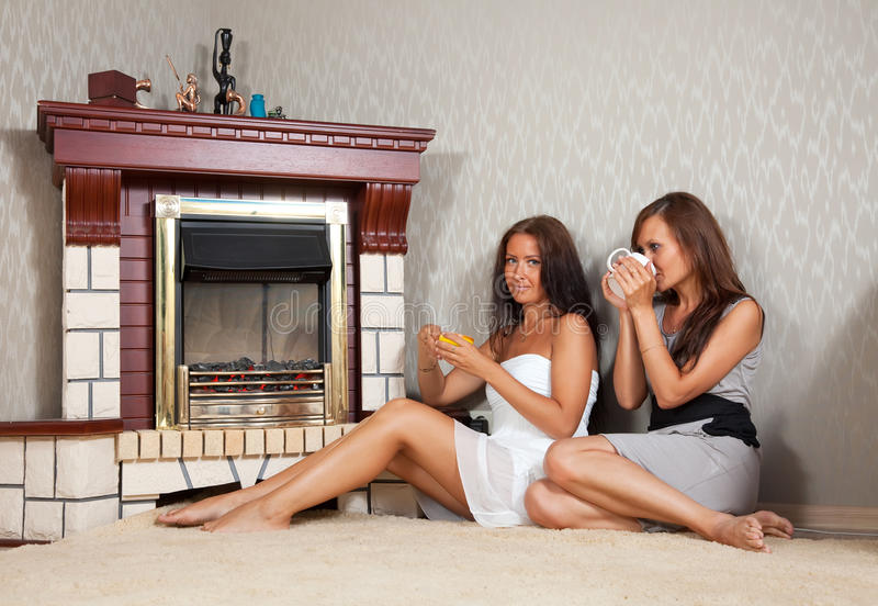 Download Women near the fireplace stock image. Image of adult - 22923061