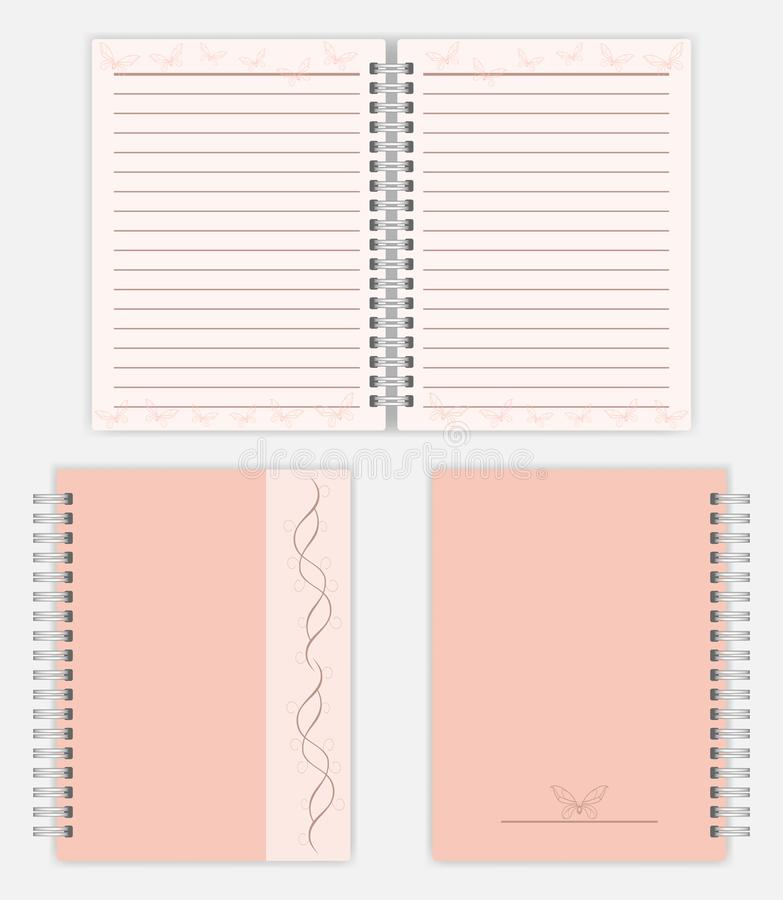Women notebook mockup design - spread, front and back cover. Women notebook design: spread, front and back cover. Spiral bound ladies notepad mockup. Silver royalty free illustration