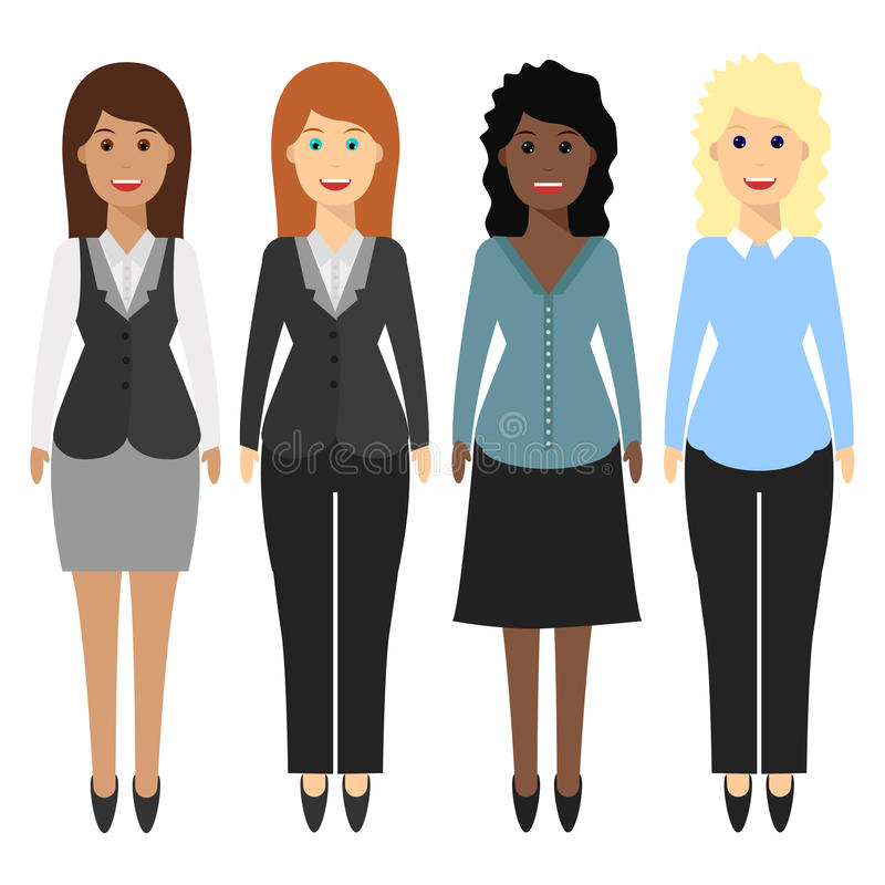 4 women, office 2 royalty free illustration