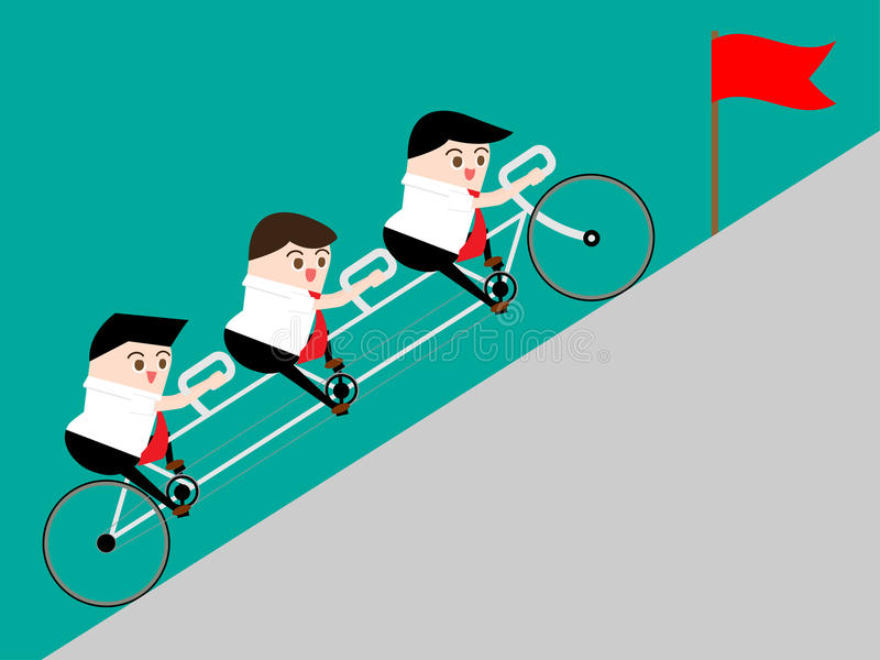 Teamwork concept: Businessman ride tandem to top of road for getting flag. Work together to rise profit and get goal. Vector stock images
