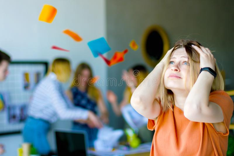 Designers and architects working at office stock image