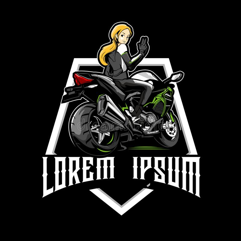 Free Women On Sport Motorbikes Cartoon Character Vector Logo Stock Image - 156798591