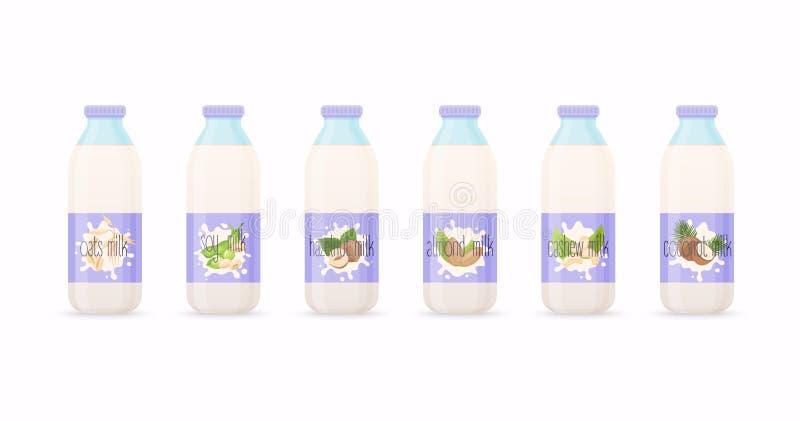 Classic milk bottles with Different variation of plant based milk. Nuts set: hazelnut, coconut, almond, soy bean, oat, cashew.. Fl. At design modern vector stock illustration