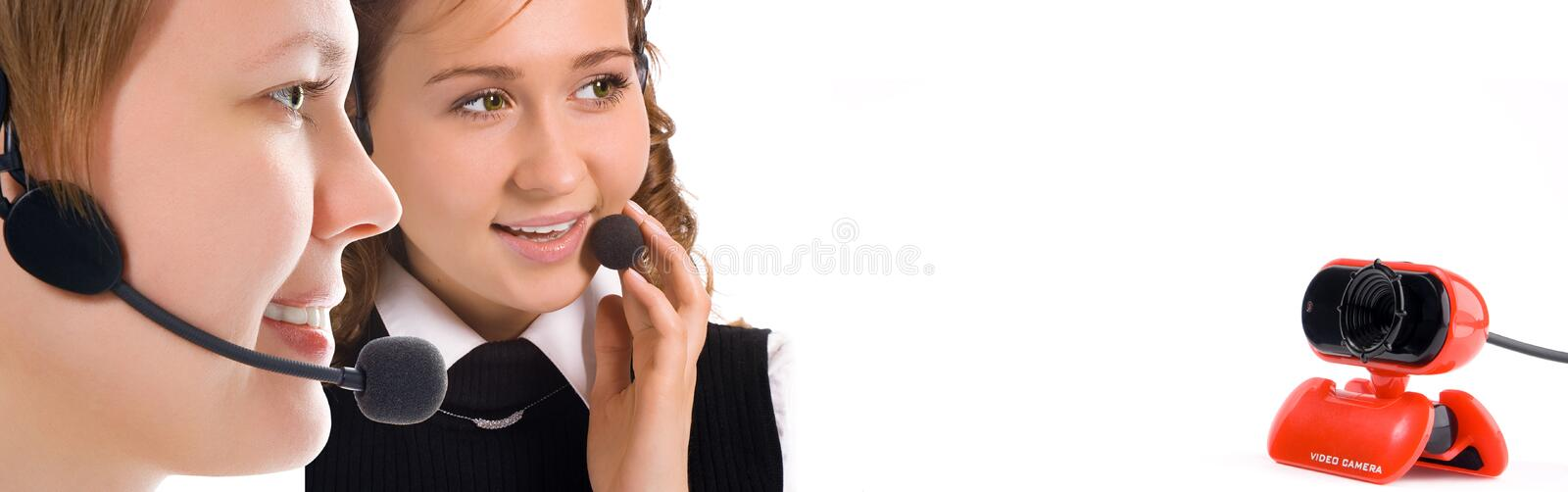 Women operators team stock photos