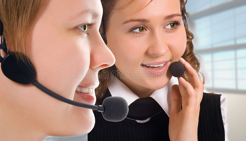 Women operators team royalty free stock image
