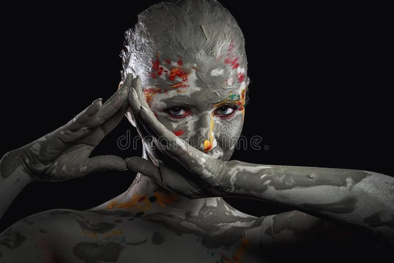Women painted with make-up stock image