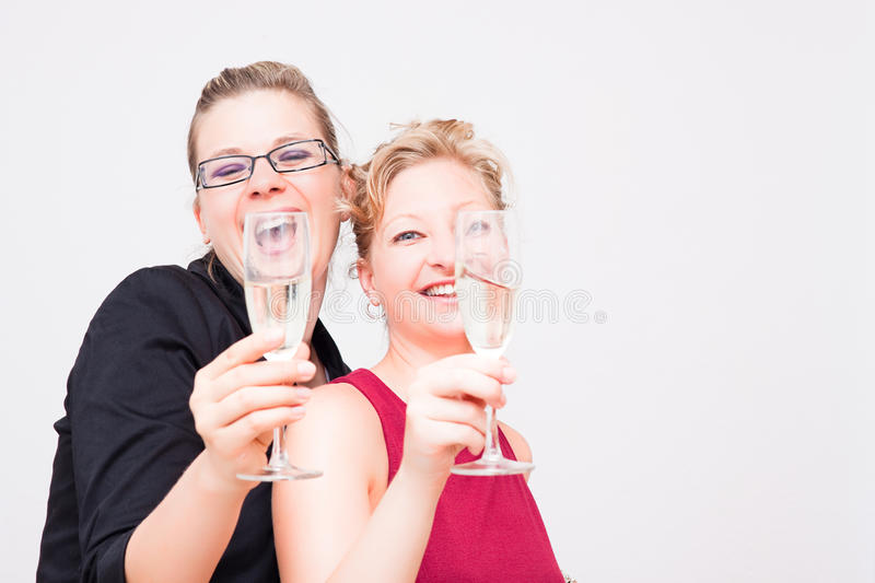 Women party. Two young women having a party royalty free stock photography