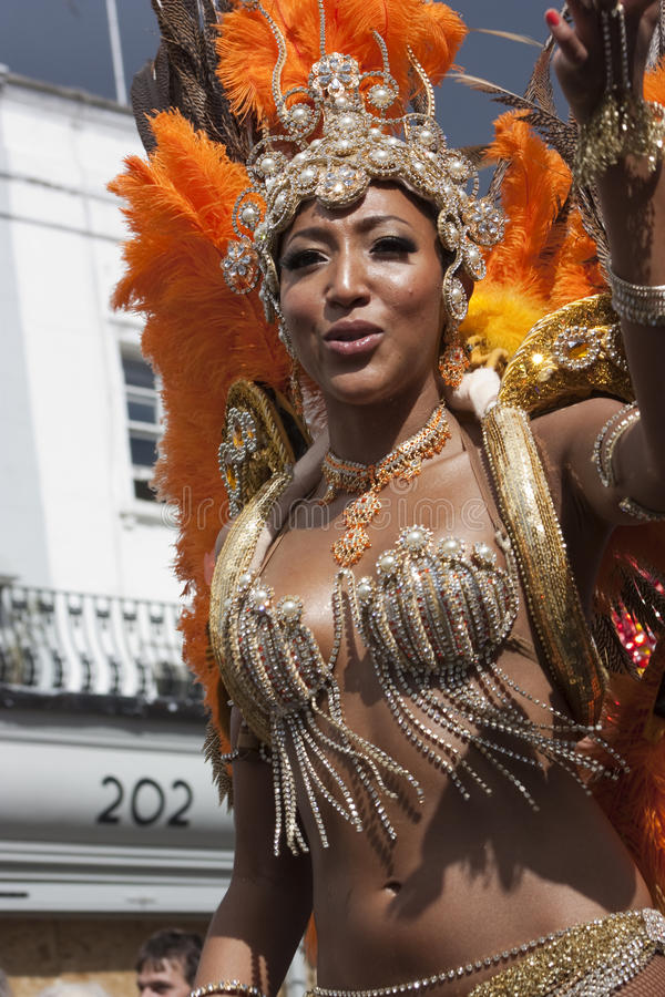 Women in pearl dress at Notting Hill carnival