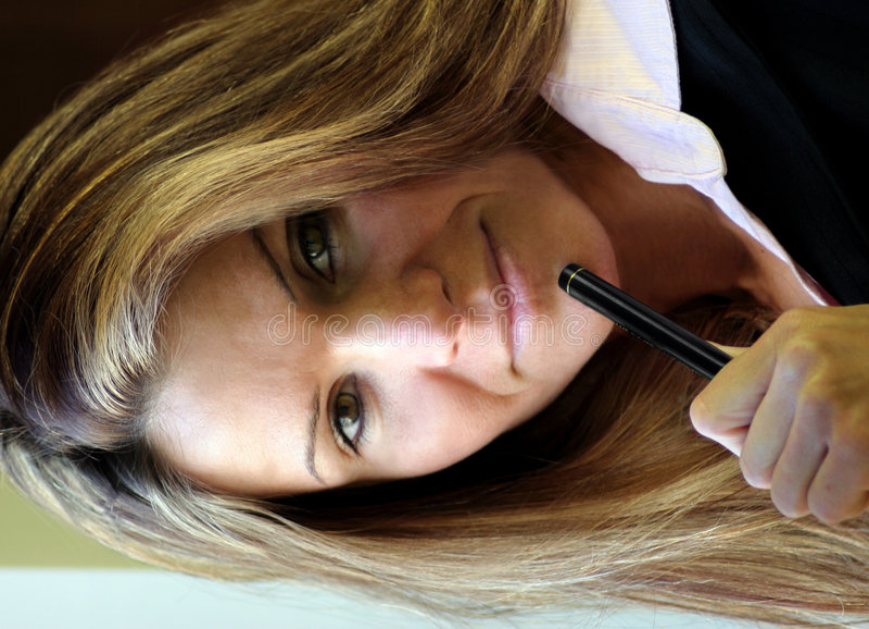 Women and Pen stock photo