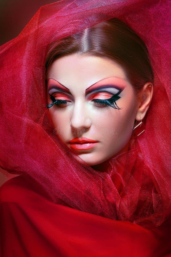 Women with perfect art make up. Gorgeous Young model beautiful woman with perfect art make up and long false eyelashes stock photos