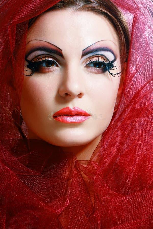 Women with perfect art make up. Gorgeous Young model beautiful woman with perfect art make up and long false eyelashes stock image