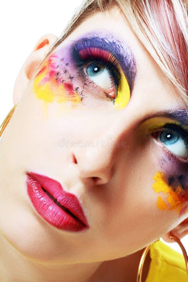 Women with perfect art make up. Gorgeous Young model beautiful woman with perfect art make up and long false eyelashes royalty free stock images
