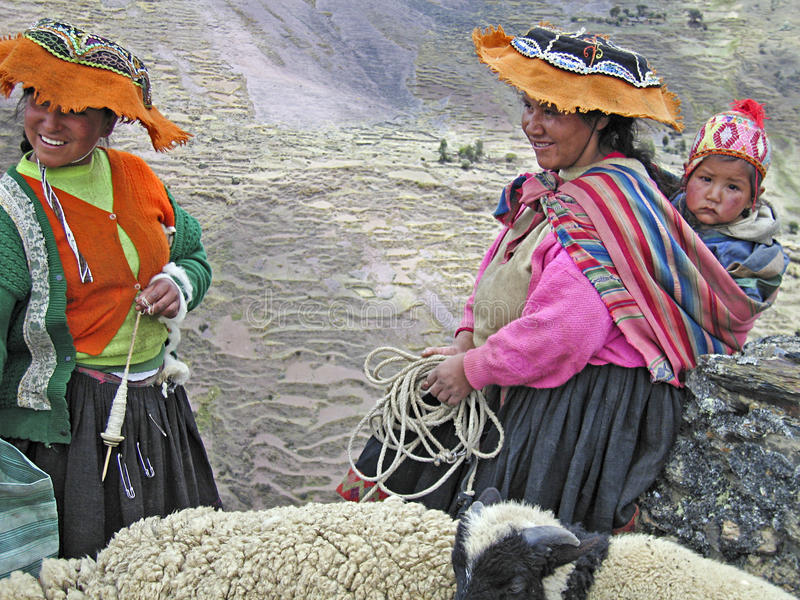 Women in the Peruvian Andes royalty free stock photo